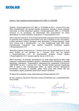 Dotyczy.: Stan wdrażania Rozporządzenia CLP (WE) nr 1272/2008