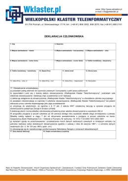 Deklaracja dla członków zwyczajnych