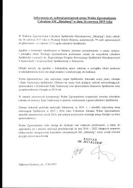 Informacja nt. uchwał przyjętych przez Walne Zgromadzenie