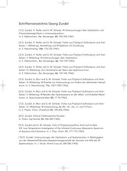 Schriftenverzeichnis Georg Zundel