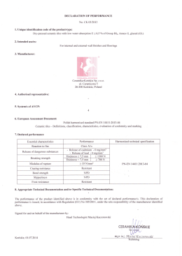 Declaration of Performance No. CK 03/2013