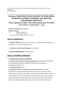 Warszawa: ŚWIADCZENIE USŁUGI OCHRONY FIZYCZNEJ MIENIA
