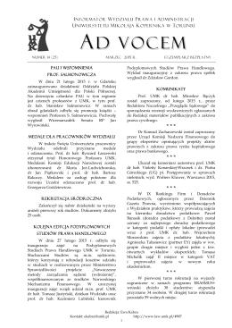 Ad Vocem 2015, nr 14 - Wydział Prawa i Administracji UMK