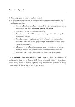 Temat: Msconfig – ćwiczenia 1. Uruchom program msconfig i włącz