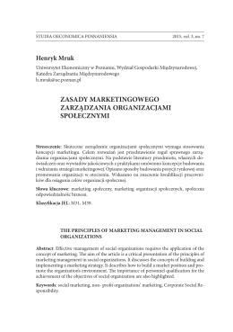 Henryk Mruk - studia oeconomica posnaniensia