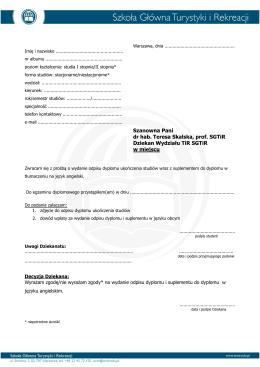 podanie do Dziekana o wydanie odpisu dyplomu i suplementu w