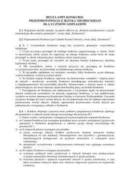 Regulamin konkursu przedmiotowego z języka niemieckiego