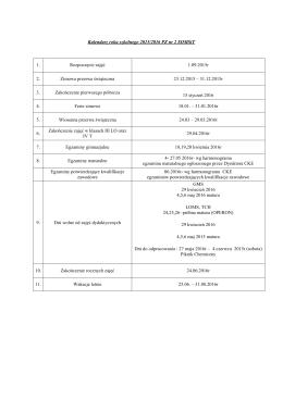 Kalendarz roku szkolnego 2015-16