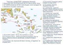 """Trasa rejsu """"Cyklady 2015"""" i podstawowe informacje: Rozpoczęcie"""