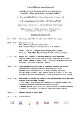 Agenda Konferencji - Narodowe Centrum Kultury