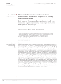 The role of ultrasound and nuclear medicine methods in the
