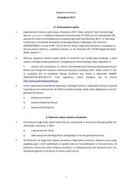"Regulamin konkursu ""Ekspedycja 2015"" § 1"