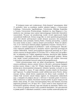 """Słowo wstępne W kolejnym tomie serii wydawniczej """"Folia historica"""