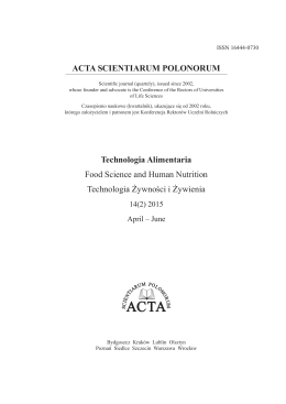 Issue 14 (2) 2015 - Cover - ACTA Scientiarum Polonorum