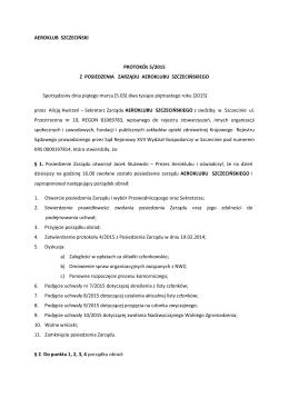AEROKLUB SZCZECIŃSKI PROTOKÓŁ 5/2015 Z POSIEDZENIA