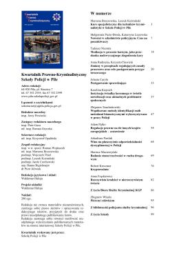 Kwartalnik Prawno-Kryminalistyczny Szkoły Policji w Pile W numerze