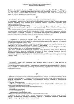 Regulamin wyborów społecznych inspektorów pracy