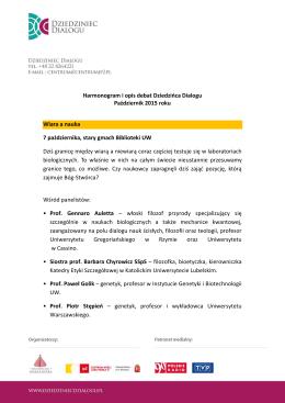 Harmonogram i opis debat Dziedzińca Dialogu Październik 2015