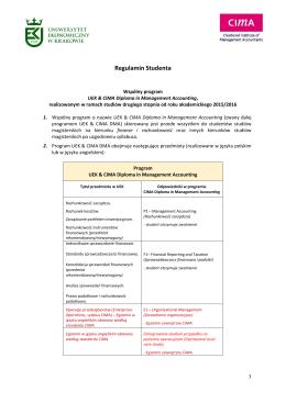 Regulamin Studenta - CIMA - Uniwersytet Ekonomiczny w Krakowie