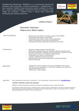 OFERTA PRACY Stanowisko: Dyspozytor Miejsce pracy