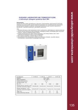 Suszarki, inkubatory - Odczynniki Chemiczne