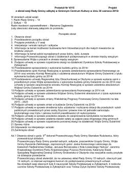 Protokół Nr VI/15 Projekt z obrad sesji Rady Gminy