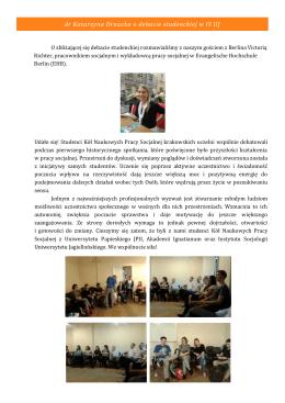 dr Katarzyna Ornacka o debacie studenckiej w IS UJ