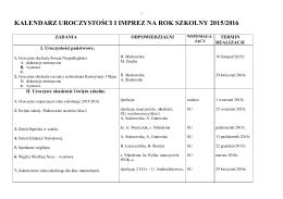 kalendarz imprez i uroczystości na rok szkolny 2000/2001