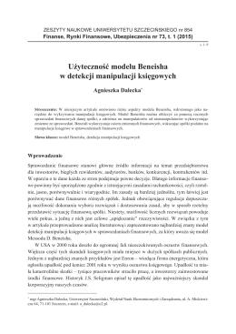 Użyteczność modelu Beneisha w detekcji manipulacji księgowych