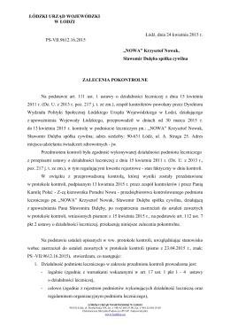 Zalecenia pokontrolne - Łódzki Urząd Wojewódzki w Łodzi