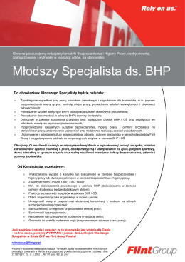 external job vacancy Młodszy Specjalista ds. BHP