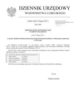 Obwieszczenie Nr PCPR.0222.3.2015 z dnia 19 lutego 2015 r.