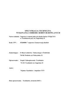 Specyfikacja techniczna wykonania i odbioru robót budowlanych