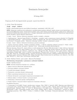 listę seminariów wraz z ich tematyką