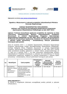 Pełna treść ogłoszenia (plik do pobrania) - RPOWP 2007-2013