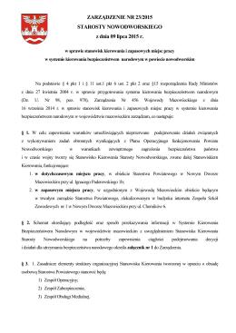 Zarządzenie nr 23/2015 z dnia 9 lipca 2015 r. w sprawie stanowisk