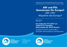 AfD und PiS: Gemeinsam für Europa? AfD i PiS: Wspólnie dla Europy?