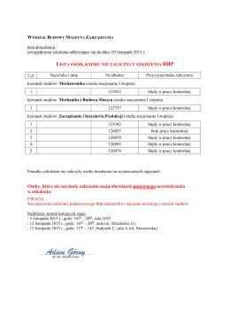 Plan referatów z przedmiotu: technologia maszyn i projektowanie