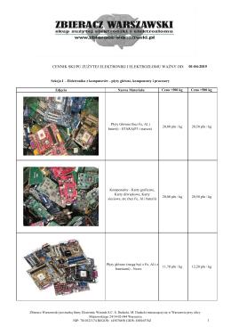cennik skupu zużytej elektroniki i elektrozłomu ważny od: 01-04-2015