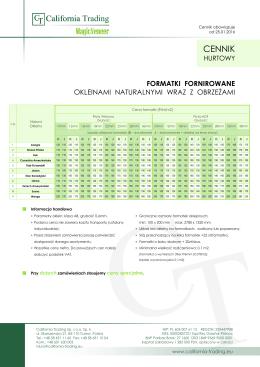 Cennik: Formatki fornirowane okleinami