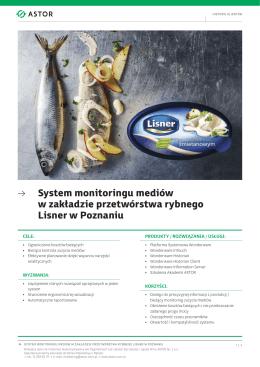 → System monitoringu mediów w zakładzie przetwórstwa