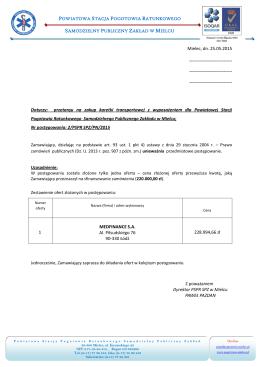 Mielec, dn. 25.05.2015 Dotyczy: przetargu na zakup karetki