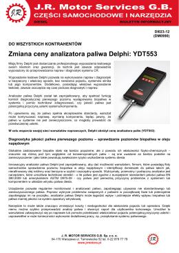 Zmiana ceny analizatora paliwa Delphi: YDT553