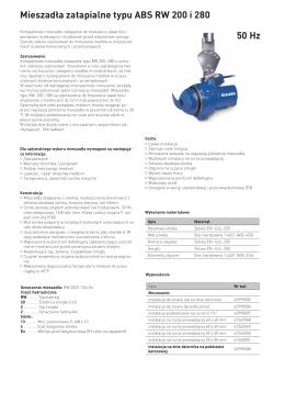 Mieszadła zatapialne typu ABS RW 200 i 280 50 Hz
