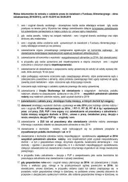 Wykaz dokumentów do wniosku o ustalenie prawa