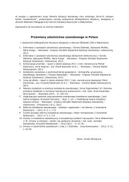 Przemiany szkolnictwa zawodowego w Polsce