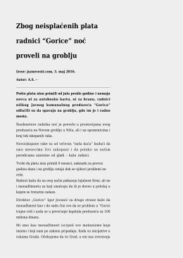 """Zbog neisplaćenih plata radnici """"Gorice"""" noć proveli na groblju"""