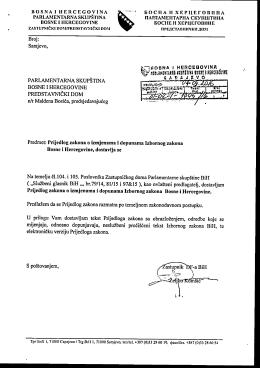 Tekst prijedloga - Parlamentarna skupština Bosne i Hercegovine