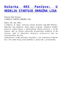 Košarka OKS Pančevo: U NEDELJU STARTUJE