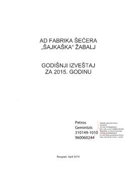 Godisnji izvestaj za 2015 Sajkaska - AD `Sajkaska`
